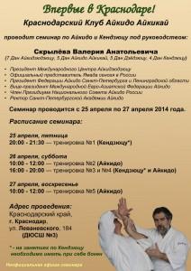 Семинар по Айкидо и Кендзюцу Валерия Анатольевича Скрылёва г.Краснодар 25-27 апреля 2014г.